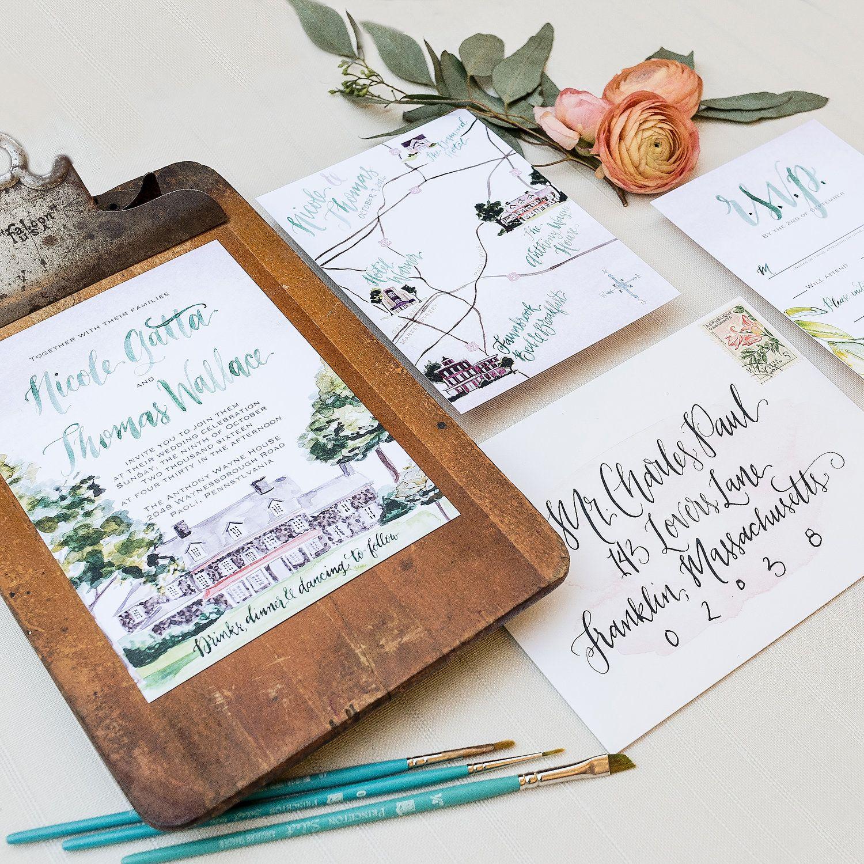 Custom Wedding Venue Watercolor