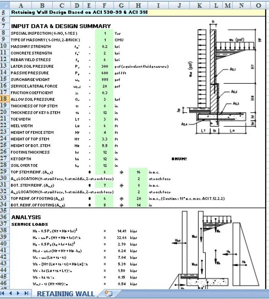 Cantilever Sheet Pile Wall Design Spreadsheet Retaining Wall Design Concrete Retaining Walls Wall Design
