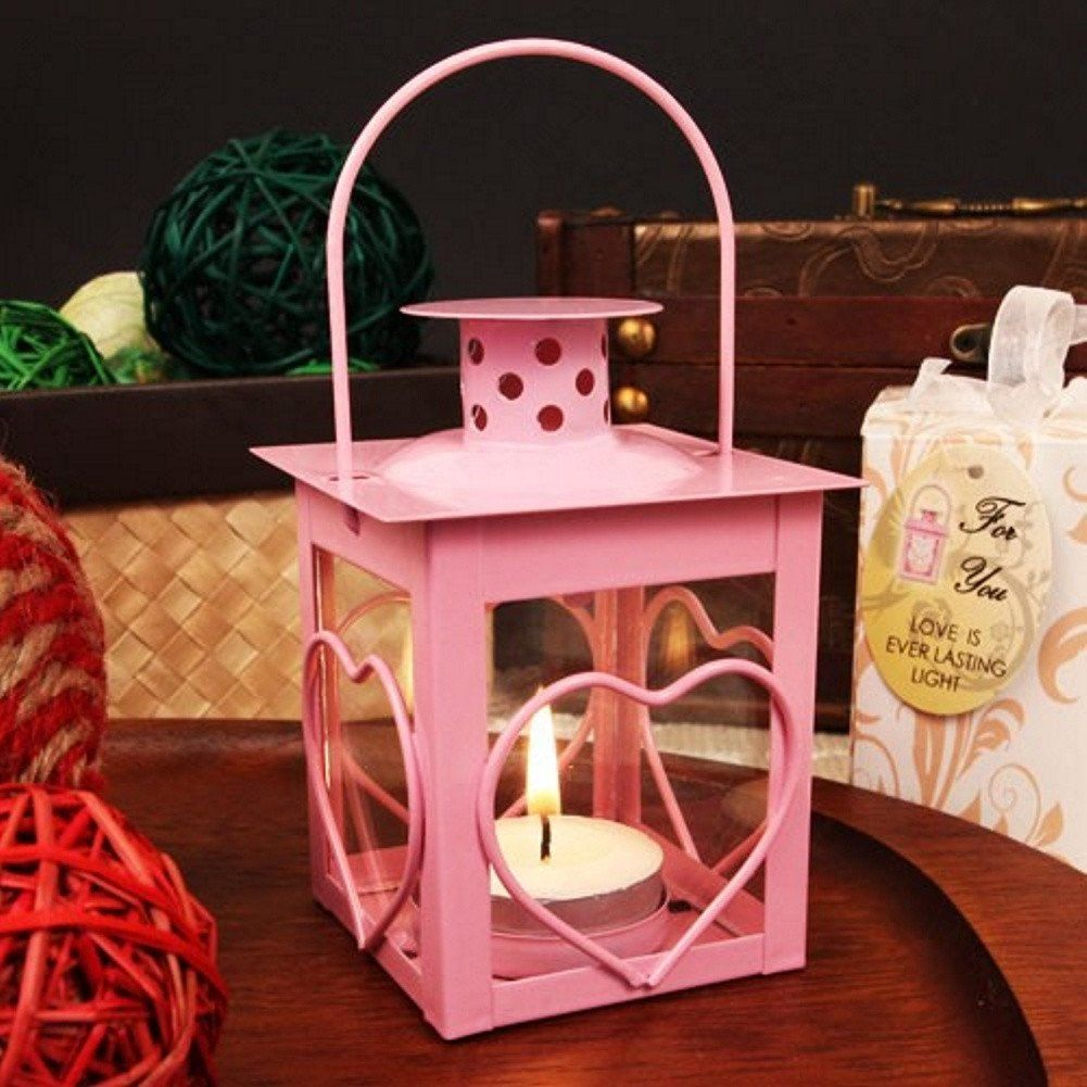 Glass Windowed Heart Adorned Pink Steel Lantern With Tea Light ...