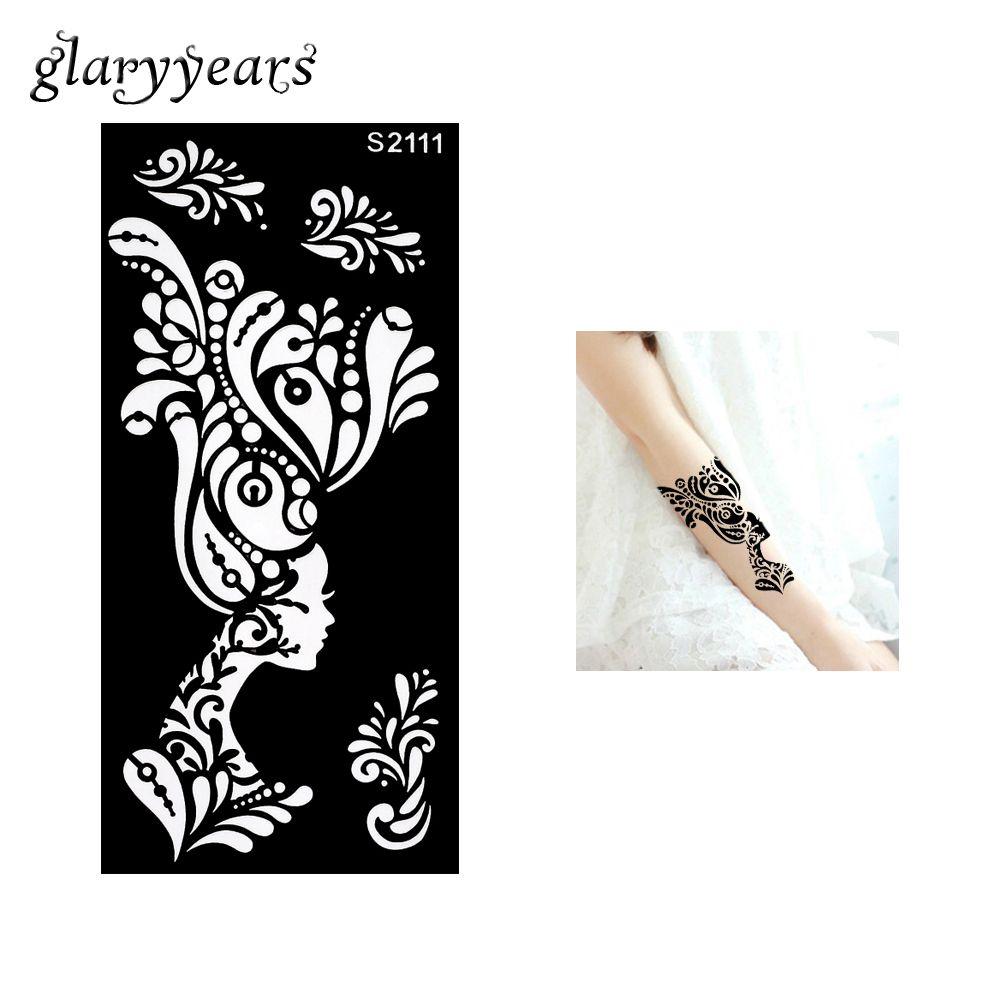 piece hollow henna tattoo stencil for beauty female women flower