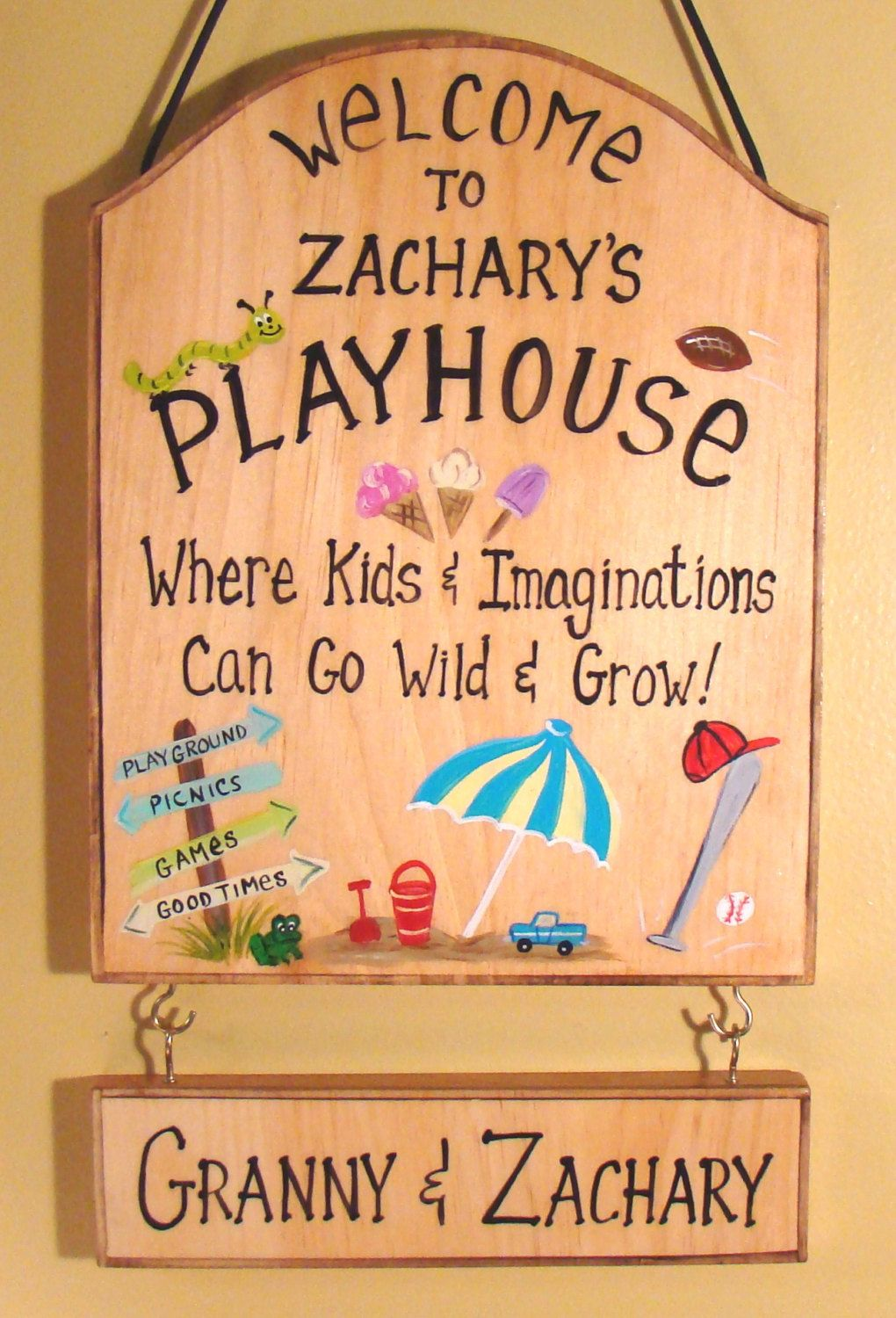 Custom Sign For Kids Room Girls Boys Play House Camping Tree Cabin ...