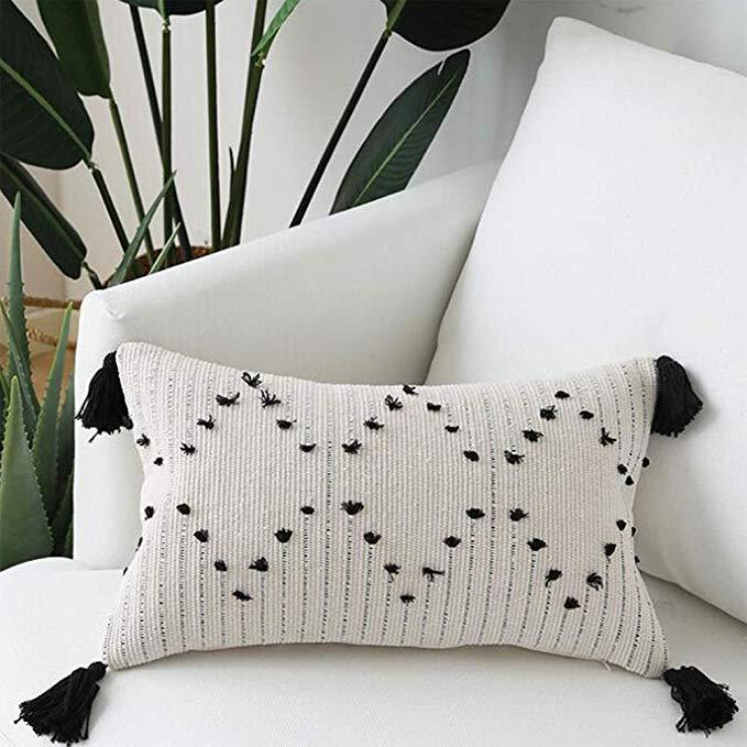 Decorative Boho Throw Pillow Covers Black