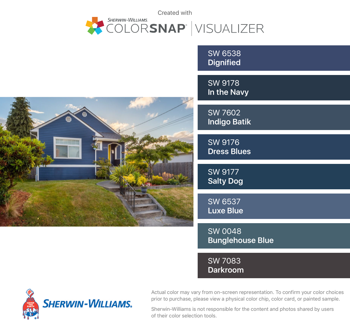 I Found These Colors With Colorsnap Visualizer For Iphone By Sherwin Williams Dignified Sw 6538 In The Navy Sw 917 Darkroom Indigo Batik Sherwin Williams [ 1088 x 1158 Pixel ]