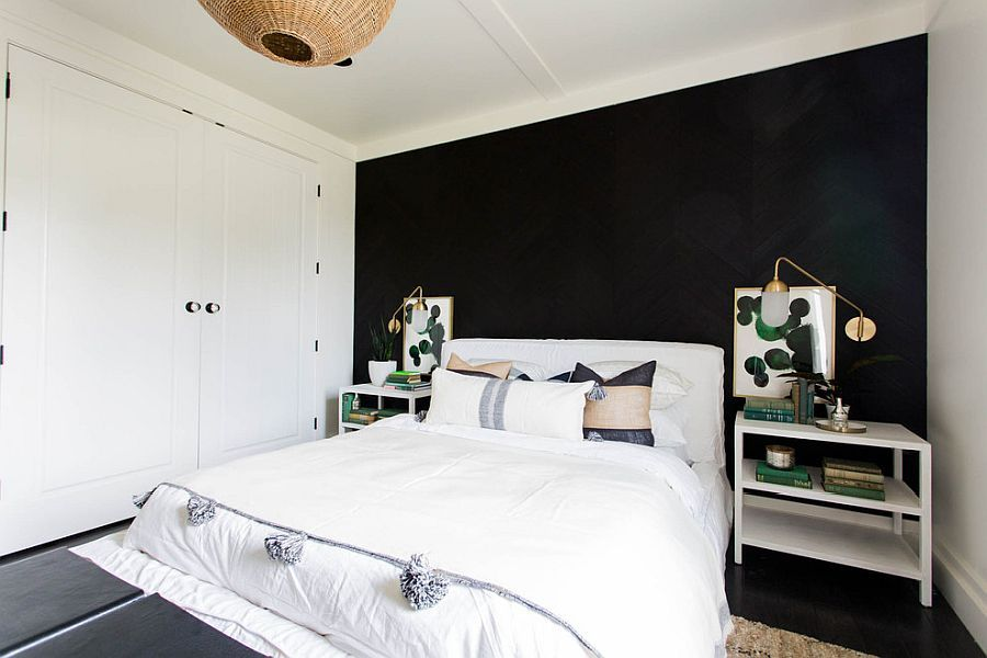 Perfect Black Accent Wall For The Modern Farmhouse Style Bedroom With Rattan Déco Black Accent Walls Accent Walls In Living Room Modern Farmhouse Style Bedroom