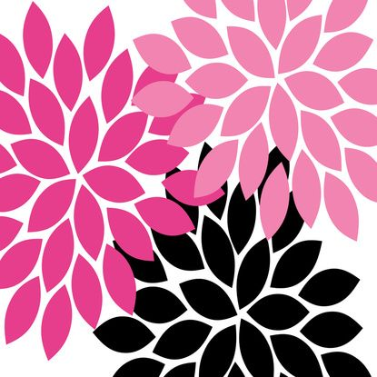 Pink And Black Flower Drawing Bold Colorful Hot Pink...