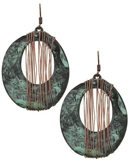 Patina & Copper Tone / Lead&nickel Compliant / Metal / Fish Hook / Circle / Dangle / Earring Set