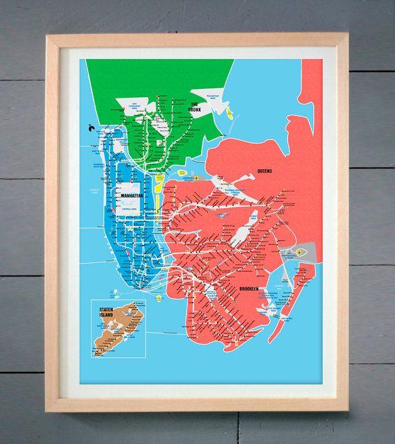 Queen Subway Map Nyc.New York City Subway Metro Map Manhattan Art Print Brooklyn Bronx