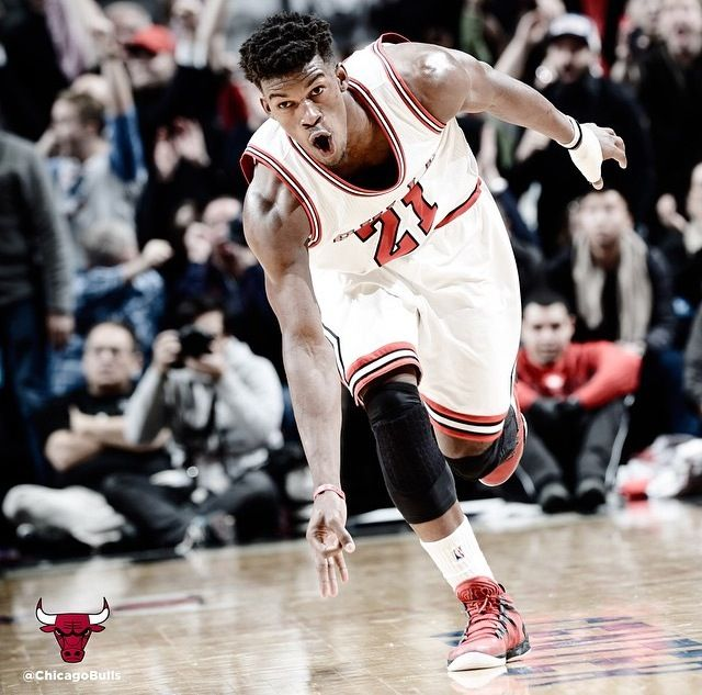 Jimmy Butler Celebrating A Big Three Against The Rockets 1 5 14 Via Chicago Bulls Instagram Bulls Basketball Chicago Sports Chicago Bulls