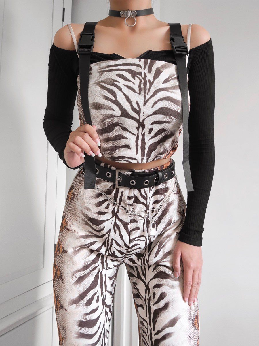 Marleen Snake Print Crop Top & Trouser Set In Stone