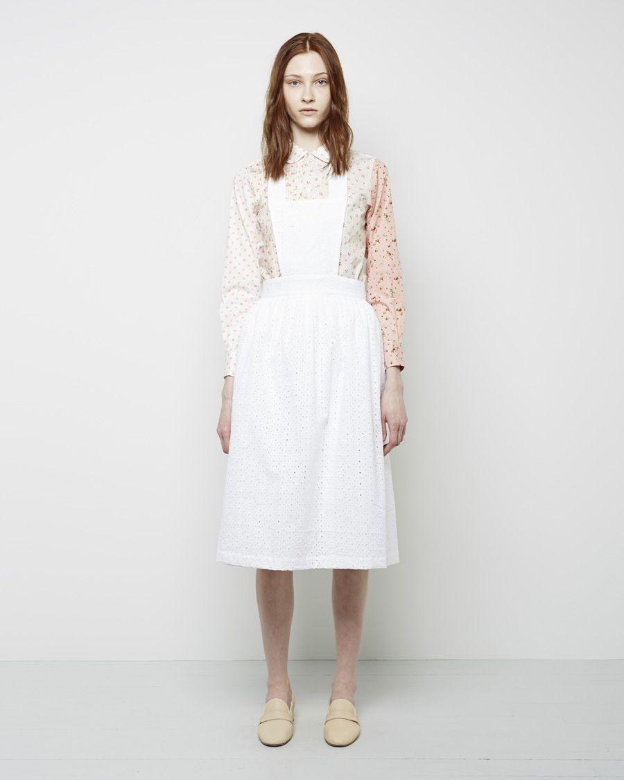 White eyelet apron - Comme Des Gar Ons Shirt Girl Eyelet Apron Comme Des Gar Ons Shirt Girl Round Collar