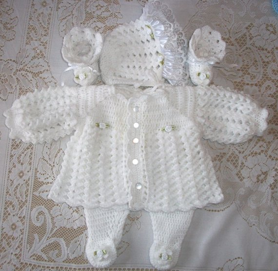 a3ebe84a8 Crochet Baby Girl White Sweater Set Layette