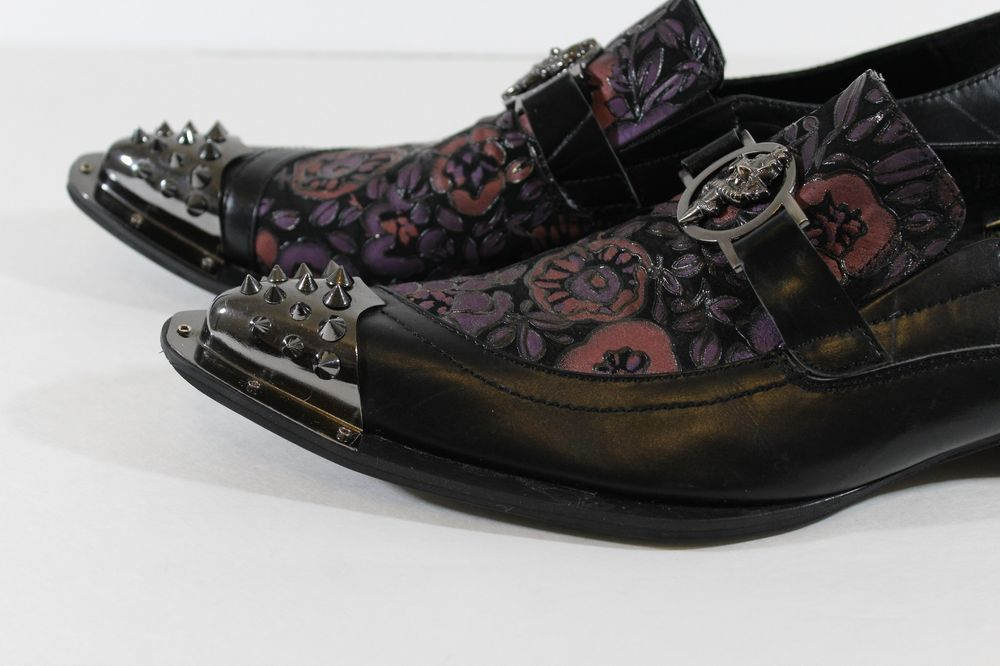 adcb49c39d0 Fiesso Purple Black Floral Print Metal Toe Spikes Size 10 Slip On Dress  Shoes