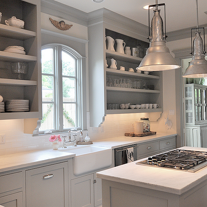 sally wheat interiors kitchens gray shaker cabinets farmhouse sink open shelving on farmhouse kitchen grey cabinets id=52328