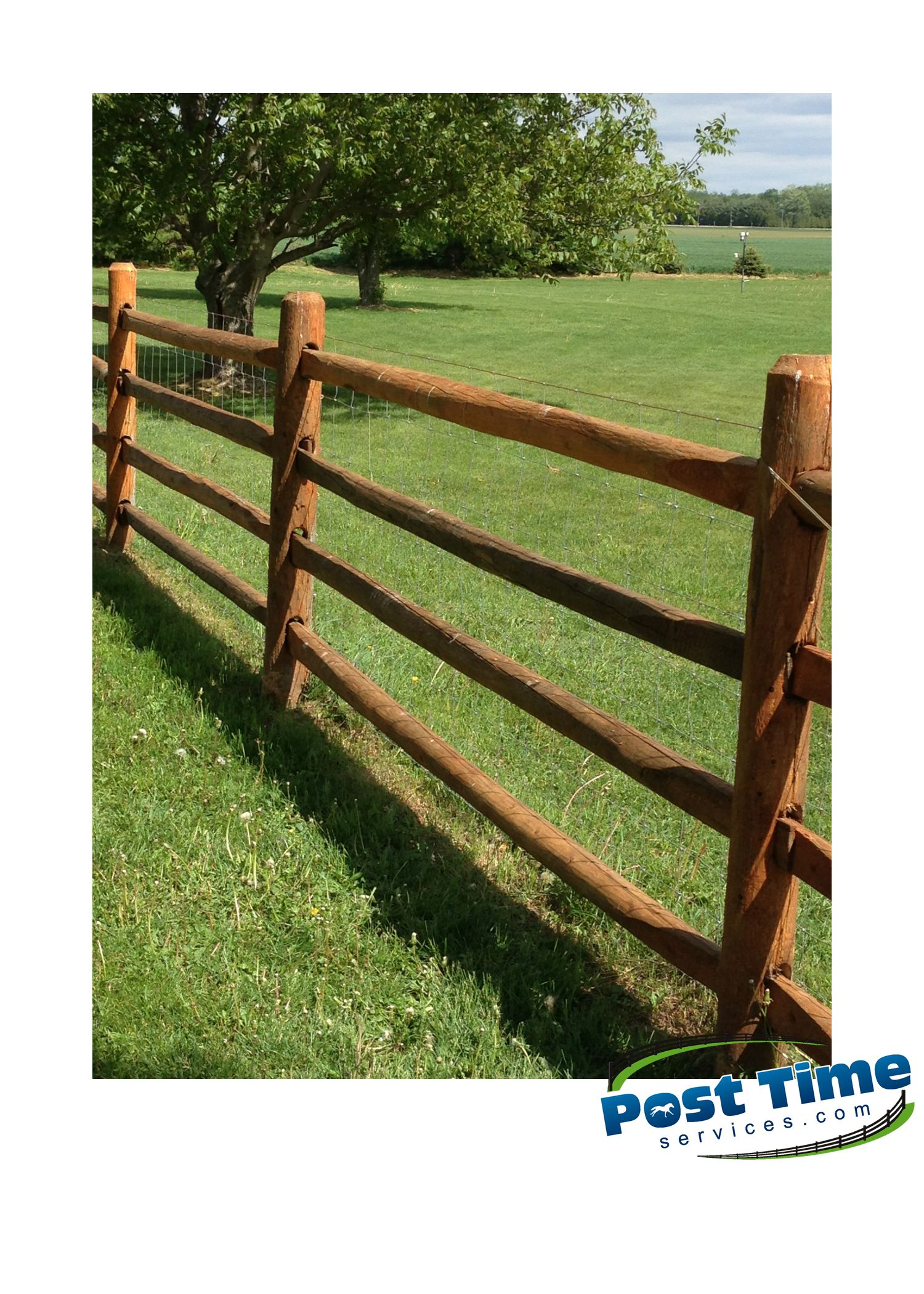 If you look closely at this four rail Post & Rail Cedar Fence you
