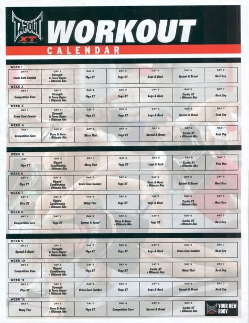 Tapout Xt Calendar  Bing Images  Fitness  My Addiction