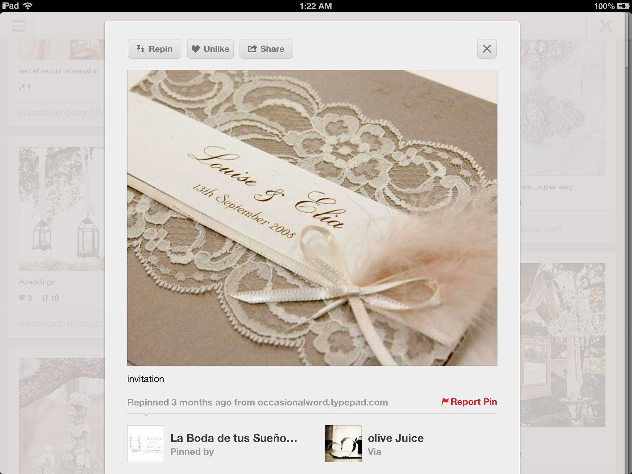 Cream and lace invite