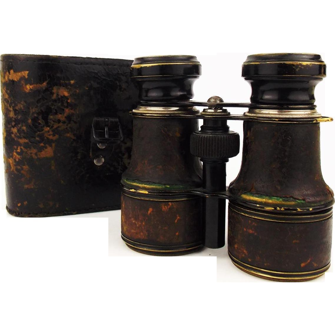 Antique 1910s Brass Binoculars Otto Schleiffelder Optiker