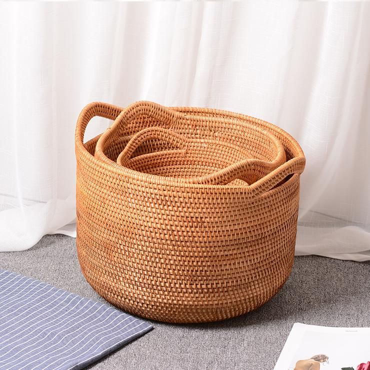 Handmade Traditional Vintage Woven Wicker Basket Fruit Flower Home Decoration