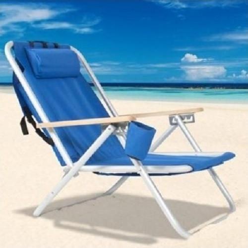 Backpack Beach Chair Blue Resin Wicker Powder Coated Aluminum Frame Cup Drink Holder Tubos Praia