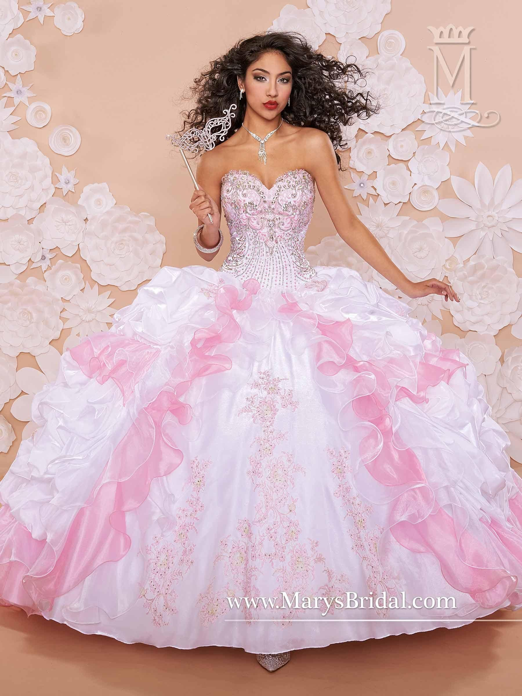Mary\'s Baby Pink Quinceanera Dresses 2015 New Sweetheart Beaded ...