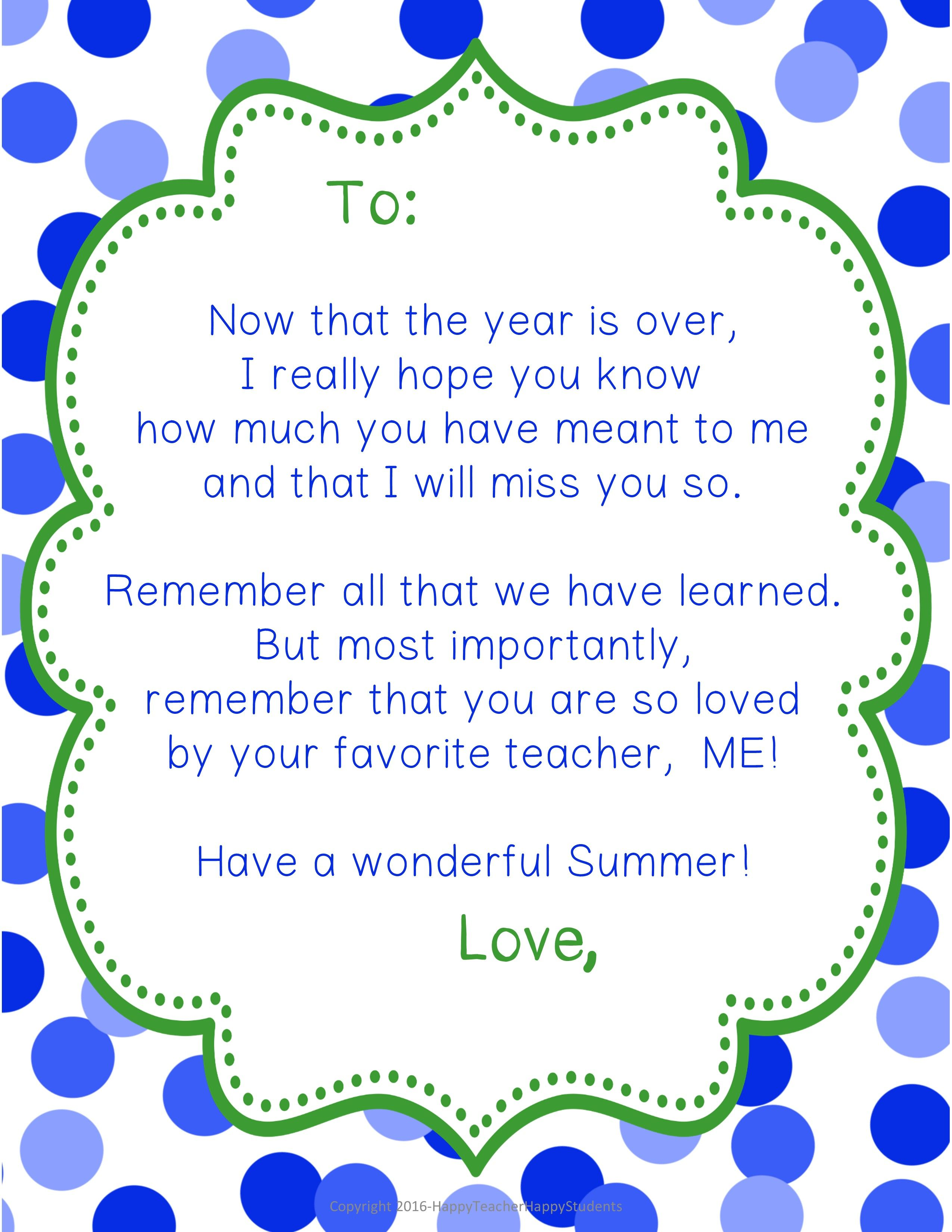 End Of Year Letter Poem For Students 5 Color Options