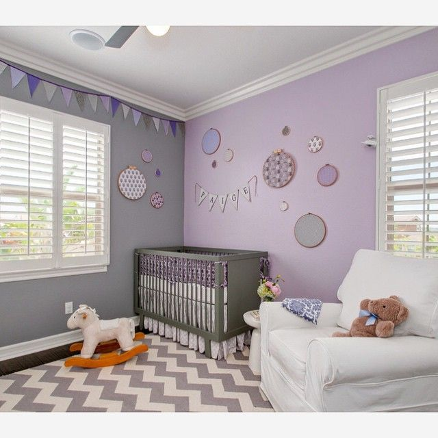 Grey And Lavender Nursery Designed By 4 Corners