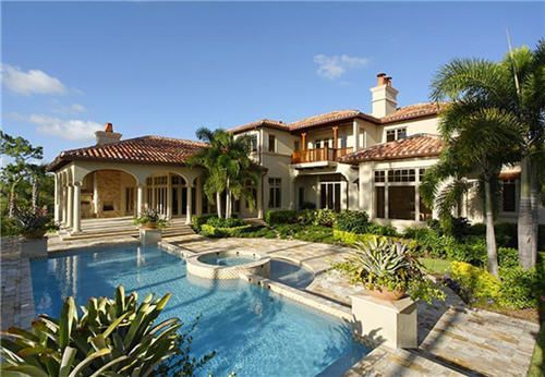 Elegant tuscan home design with front pool the best tips for Elegant mediterranean homes