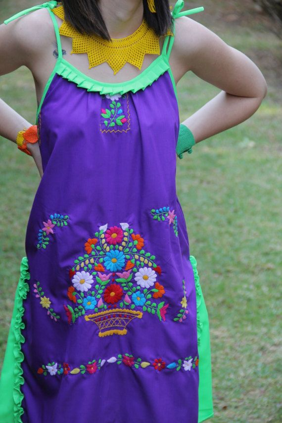 Purple, lime, and multi colored One of a kind Hand Embroidered Mexican Spaghetti strapped dress #mexicanspaghetti