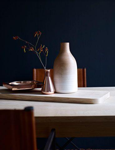leather, copper, indigo - we love raw materials! Bedroom colour pallette
