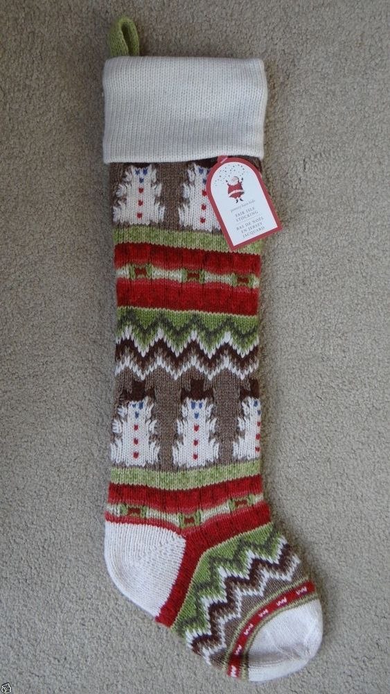 Pottery Barn Kids Fair Isle Knit Snowman Christmas Stocking IVORY ...