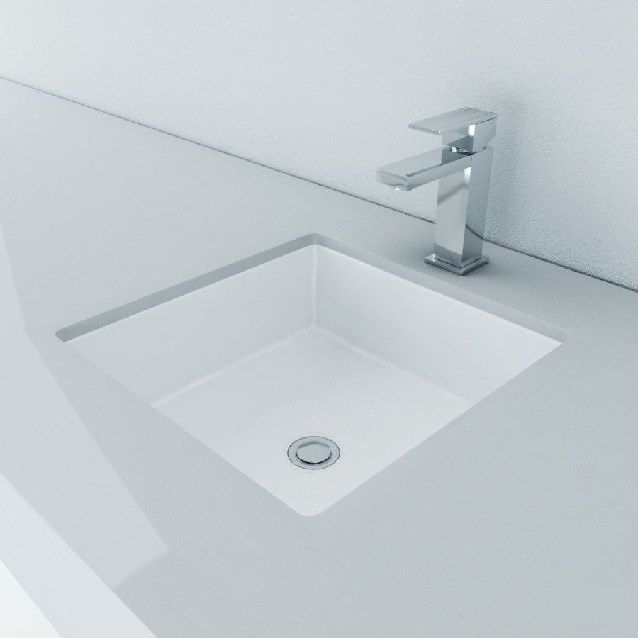 Cantrio Vitreous China Undermount Square Sink Sink Square