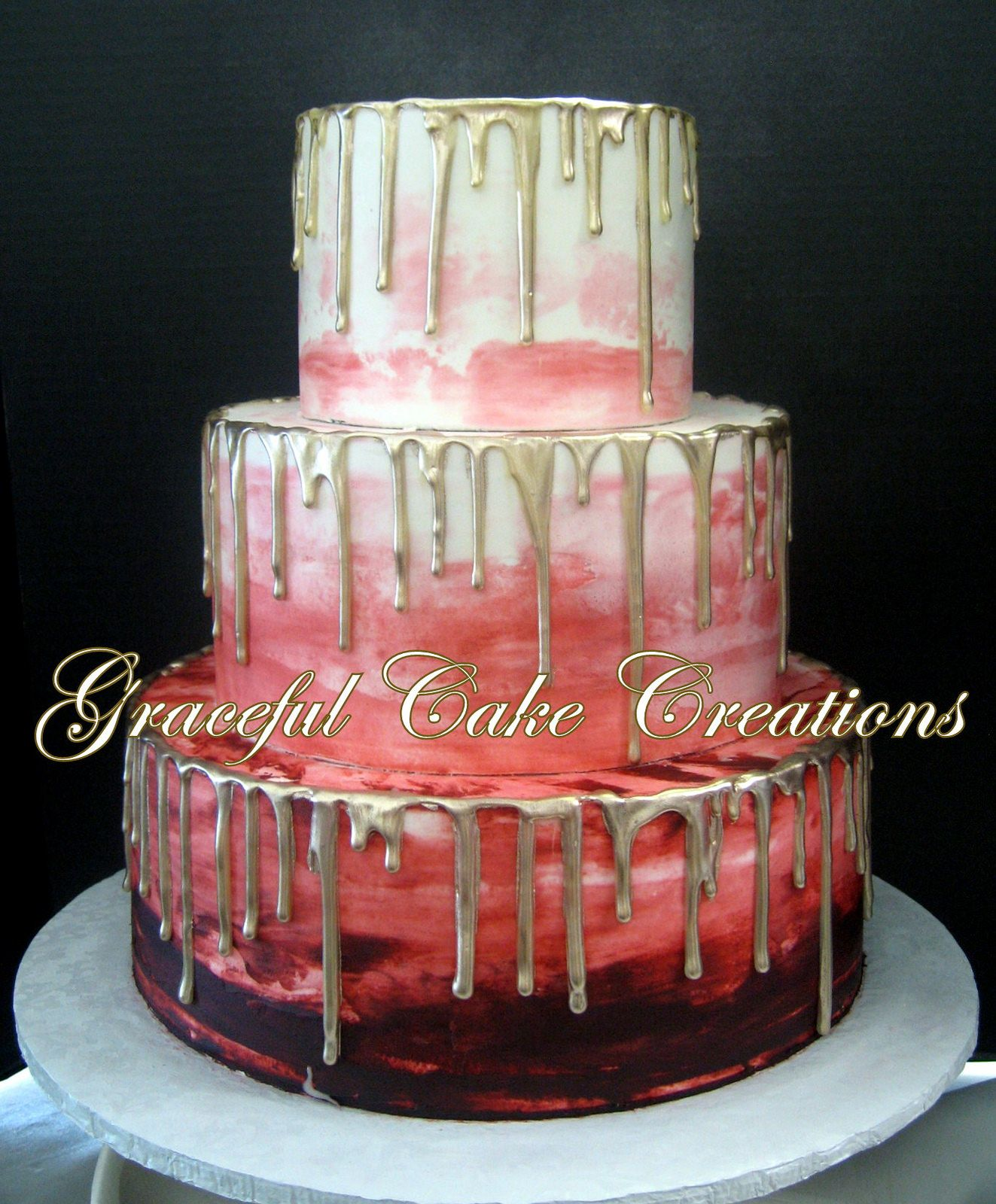 Burgundy Ombre Wedding Cake with Hand Painted Gold Drip | Wedding ...