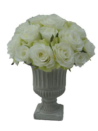 Beautiful Sia Artificial Roses Ina Grey Cement Urn Silkpetal
