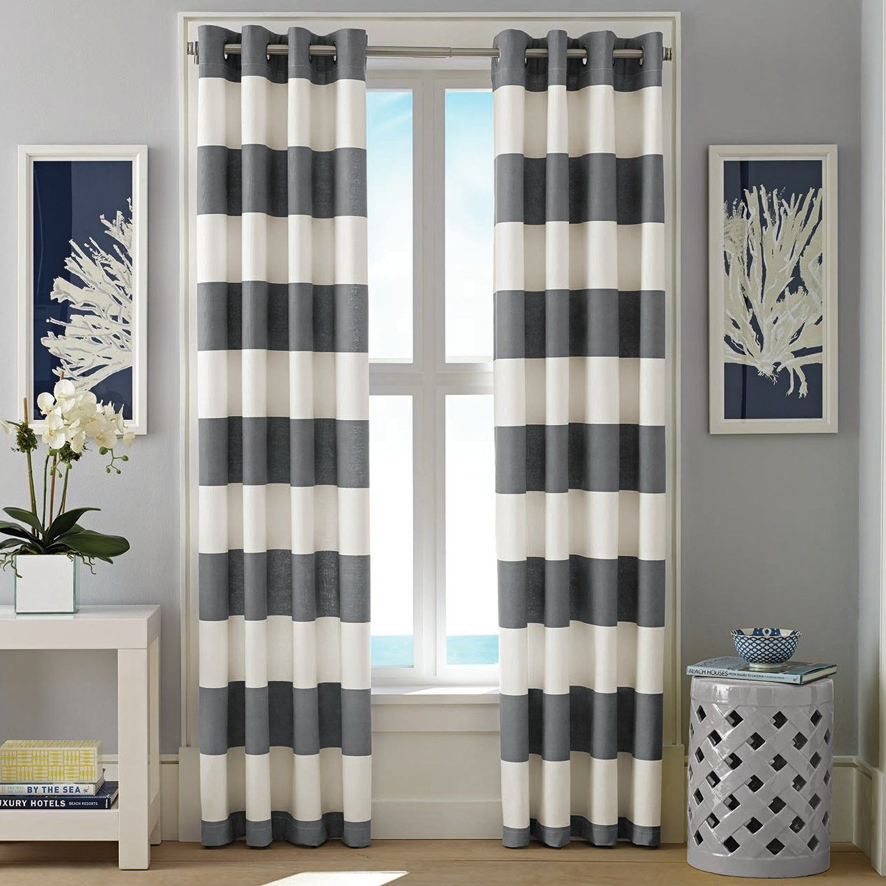 Cabana Stripe Cotton Striped Room Darkening Tab Top Curtain Panel With Images Striped Curtains Nautical Curtains Striped Room
