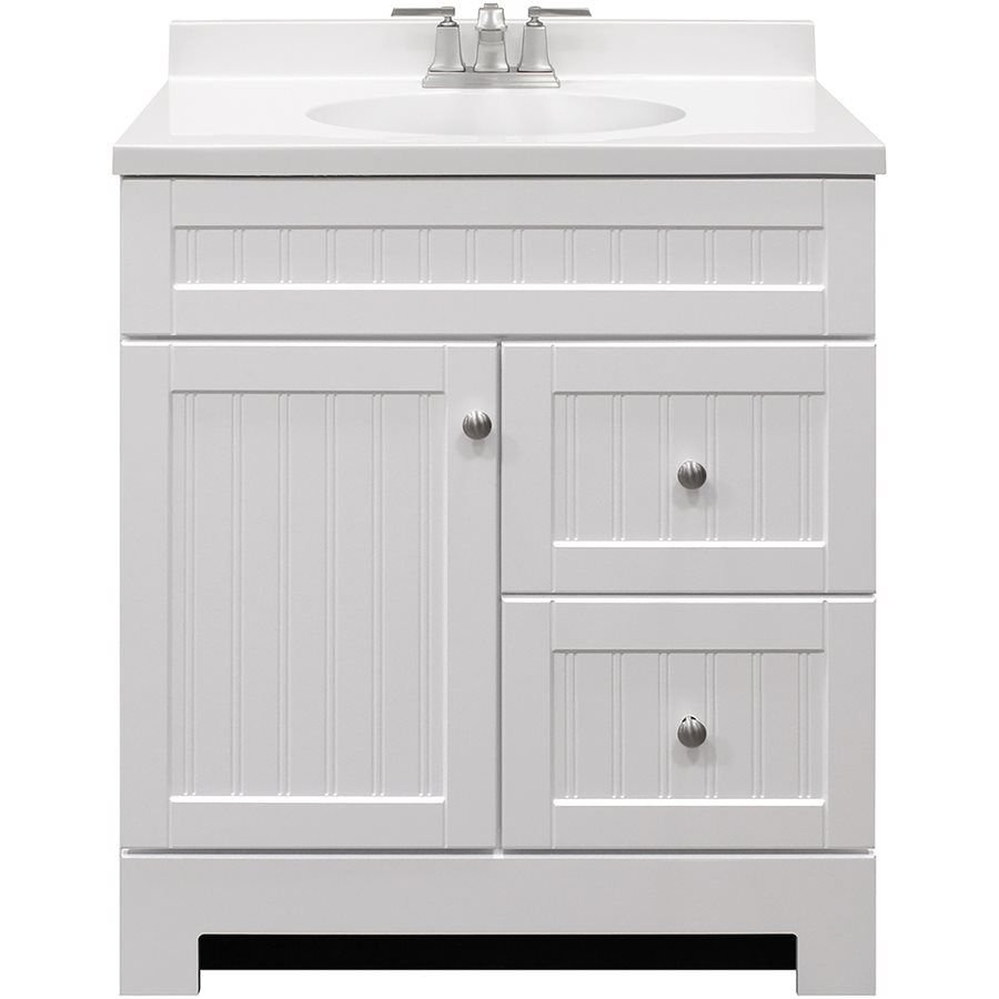 Shop Style Selections Ellenbee White Integral 1 Bathroom Vanity With  Cultured Marble Top (Common: