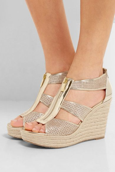 e95298d11894 Wedge heel measures approximately 80mm  3 inches with a 30mm  1 inch  platform Gold mirrored and glittered leather Zip fastening along front  Imported