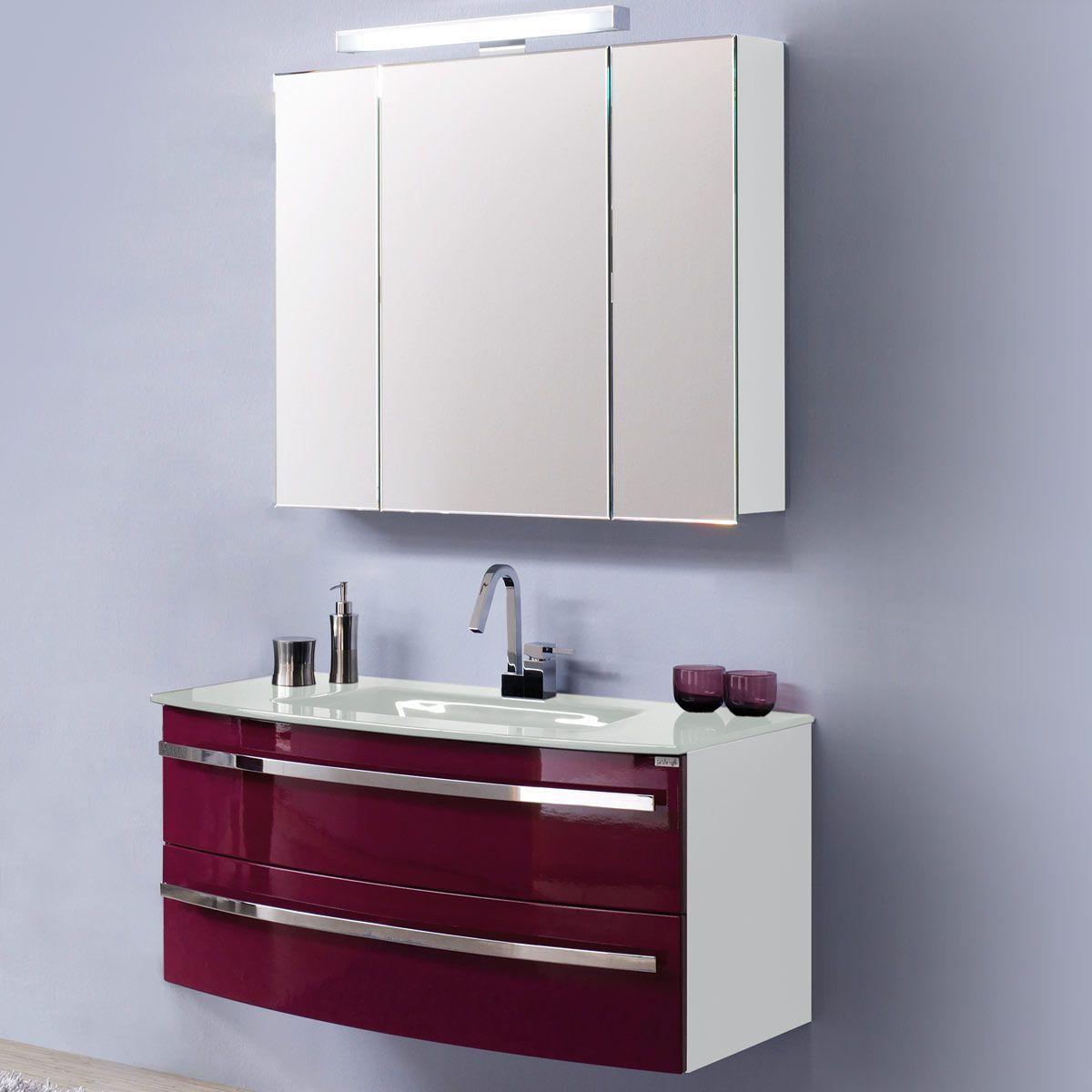 EEK A, Waschplatz Kingston - Weiß/ Hochglanz Brombeer, Aqua Suite ...
