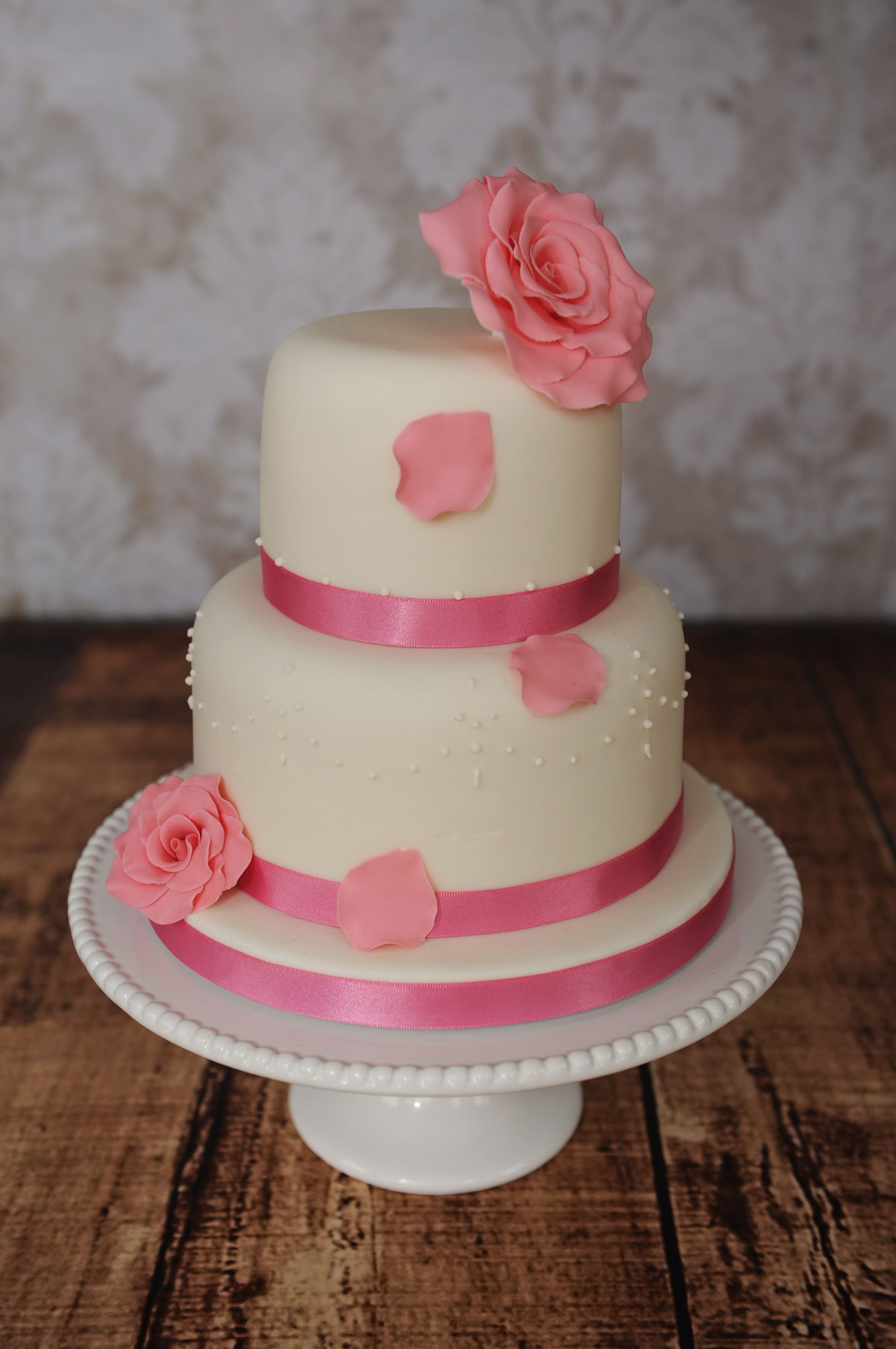 Beautiful ivory #wedding #cake decorated with #handmade pale pink ...