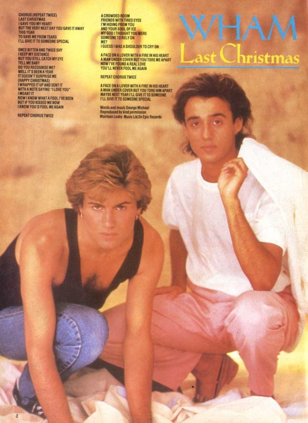 N1841/12P02 WHAM LAST CHRISTMAS SONGWORDS POSTER 11X8