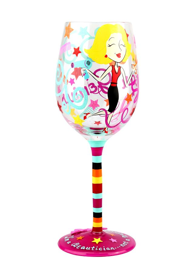 Shear Genius Hand Painted Wine Glass Top Shelf Glasses Mom Mothersday Momsday Gift Fun Hand Hand Painted Wine Glass Painted Wine Glass Hand Painted
