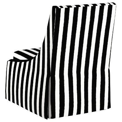 Best Alice Skirted Swoop Accent Chair Black White Stripe 640 x 480