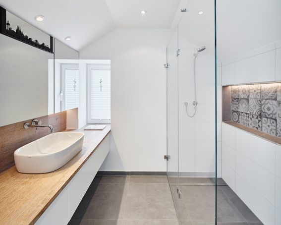 Design Badezimmer ~ Badezimmer glasscheibe dusche skyline waschbecken holz