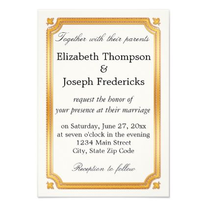 elegant gold border wedding invitation in 2018 gold wedding