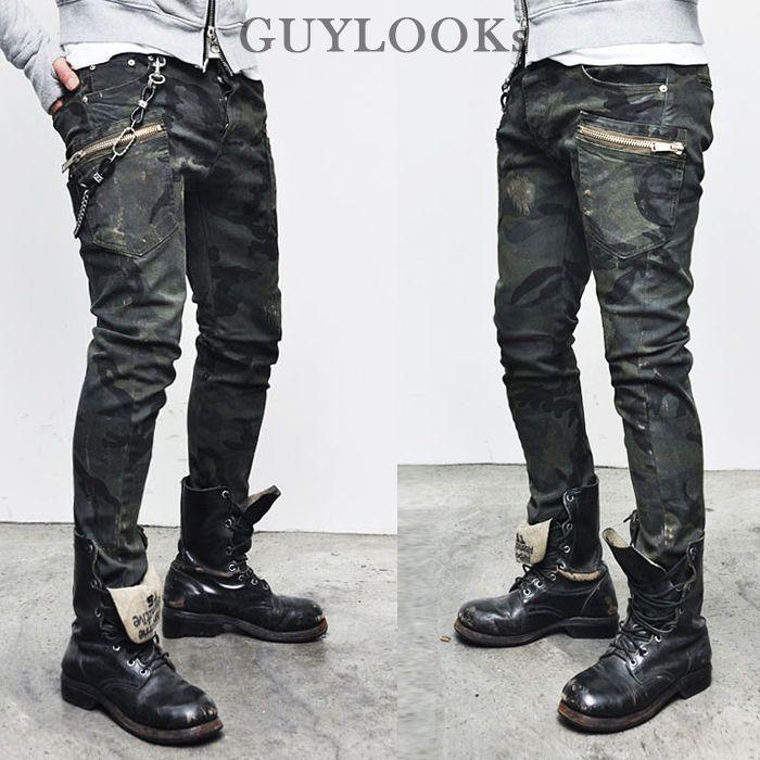 GUYLOOK* Funky Military Camouflage Mens Zippered Slim Cargo Skinny Biker Pants
