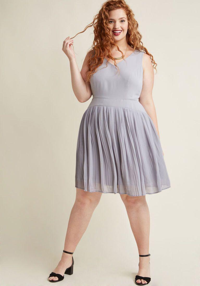 Drop Waist Pleated A-Line Dress in Wine in 1X  df56cc7a9