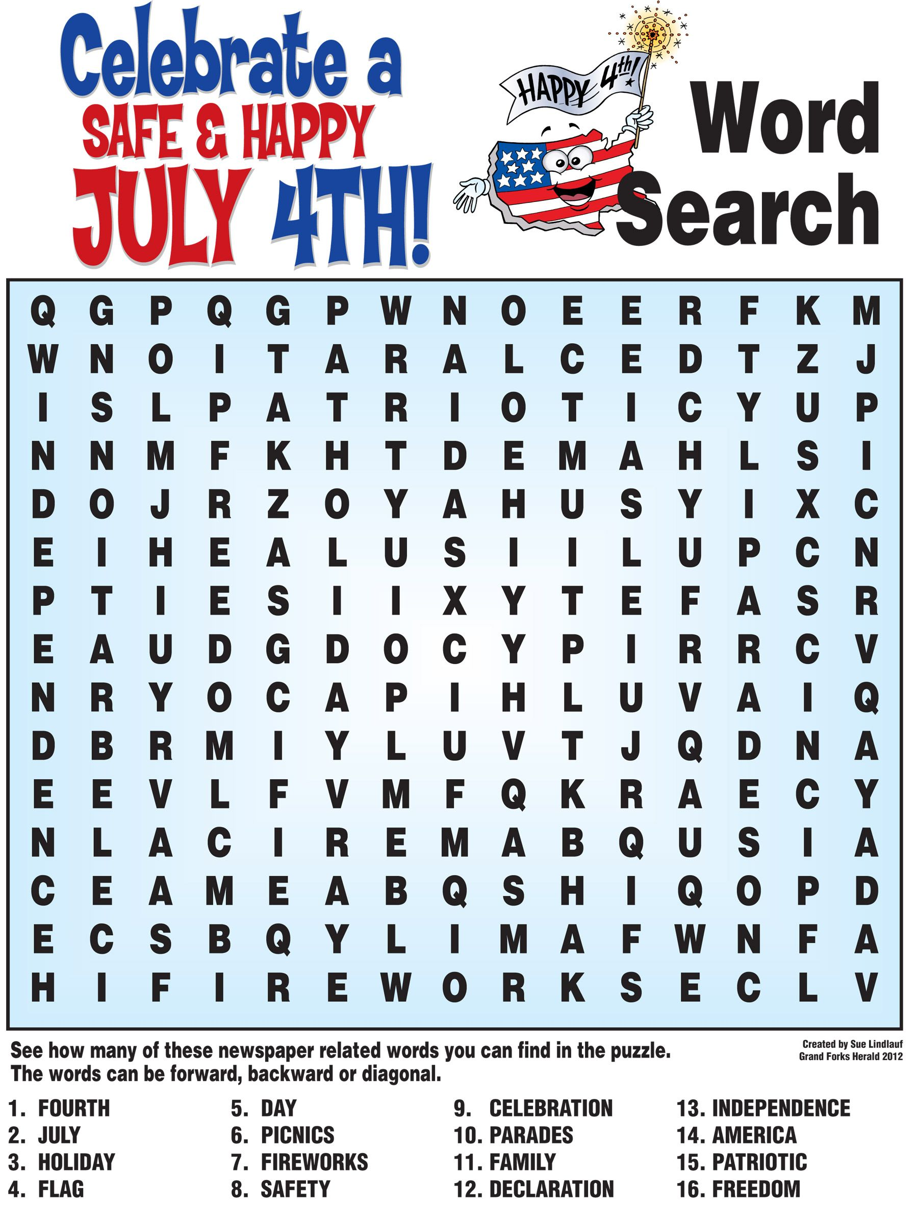 4th Of July Word Search History Quiz And More