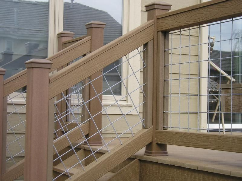 Wire Mesh On The Stairs Wire Deck Railing Deck Railings Deck