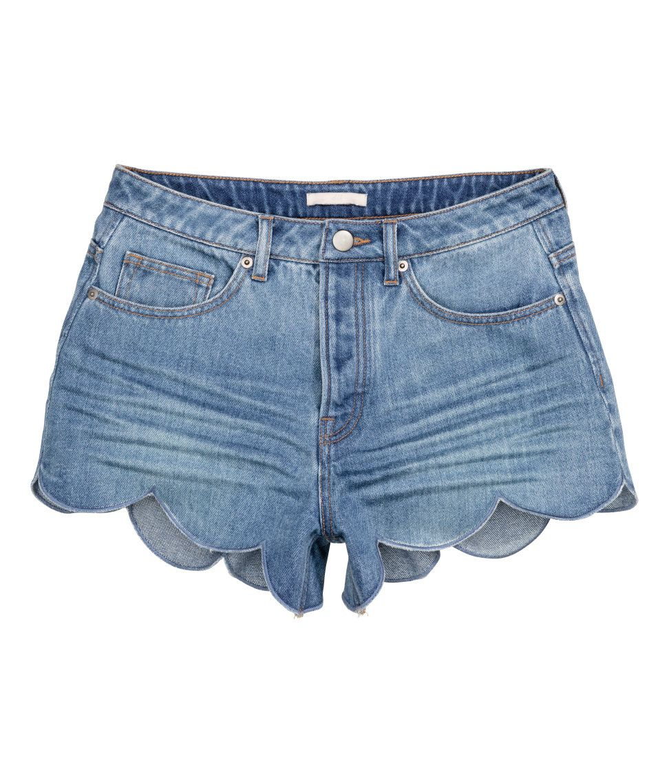 Short, low-rise shorts in washed denim with a button fly | H&M ...