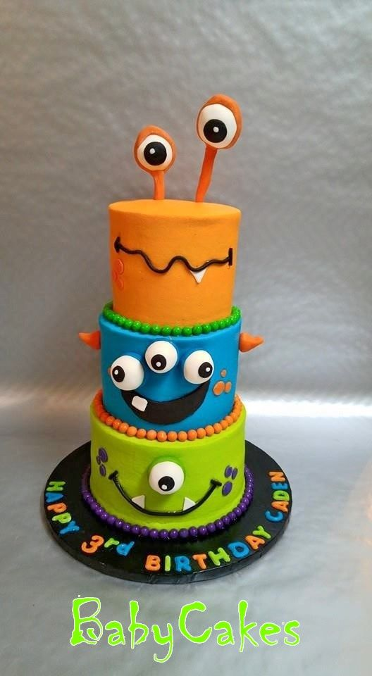 Colorful cute monster mini tiered birthday cake BabyCakes