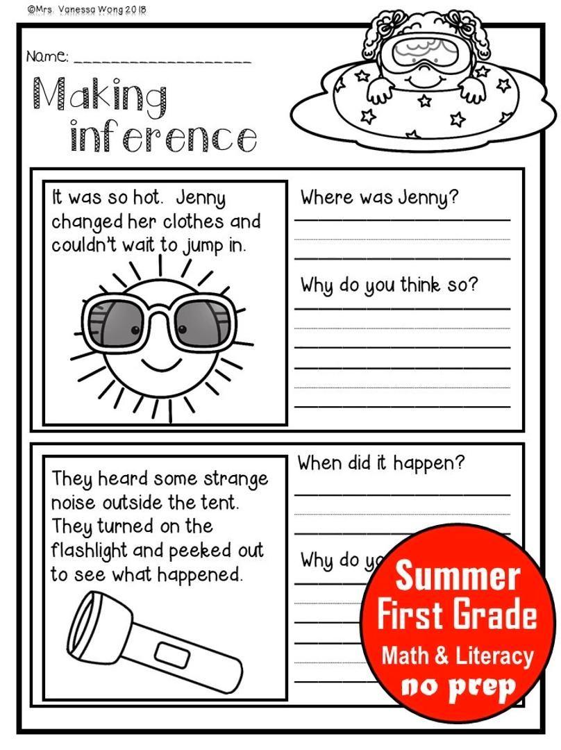 Summer Review (First Grade) Math & Literacy No Prep